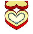 diamond necklace heart in gift box pop art vector image