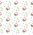easter bunny and eggs seamless pattern vector image vector image