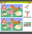 find differences game with farm animals vector image vector image