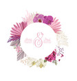 floral wreath with watercolor dry pink flowers vector image