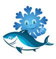 frozen fish symbol vector image