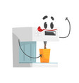 funny coffee machine character with smiling face vector image vector image