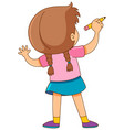 girl writing on wall with pencil vector image vector image