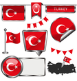 Glossy icons with Turkish flag vector image vector image