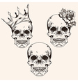 Hand drawn set sketch sculls tattoo design line vector image vector image