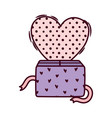 happy valentines day cute gift box hearts love vector image