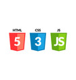 html5 css3 js icon set web development logo icon vector image vector image