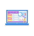laptop with information and infocharts analysis vector image vector image