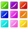 long knife icons 9 set vector image vector image
