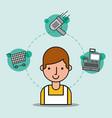 man cartoon salesman supermarket worker shopping vector image vector image