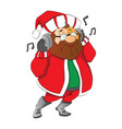 man wearing santa hat listening to music on vector image vector image