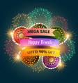 mega diwali sale banner poster with fireworks vector image vector image