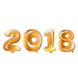 metallic gold balloon 2018 happy new year vector image