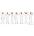 muslim arab man character set of emotions vector image vector image