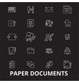 paper documents editable line icons set on vector image