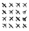 plane icons fly and jet symbols airplane vector image vector image