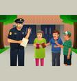 policeman talking to kids vector image vector image