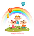 poster with friendship day title and children vector image vector image