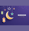 ramadan kareem greeting card moon and stars vector image