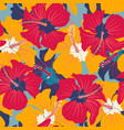 retro floral pattern with hibiscus vector image