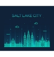 Salt Lake city skyline Utah linear style vector image