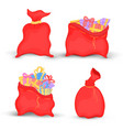 set bags santa claus is filled with bright gifts vector image