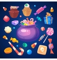 set colorful halloween sweets and candies icons vector image vector image