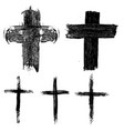 set hand drawn crosses religious symbols vector image vector image
