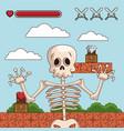 skull on videogame scenery cartoon vector image