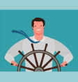 smiling businessman at helm ship vector image