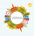 vienna skyline with color buildings blue sky and vector image vector image
