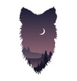 wild wolf head silhouette vector image