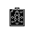 workflow management black icon sign on vector image vector image