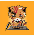 yakuza cat eating fish vector image vector image