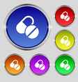 Medical pill icon sign Round symbol on bright vector image