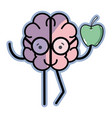 icon adorable kawaii brain eating apple