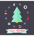 Happy New Year Card with Christmas Tree over Dark vector image