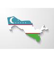 Uzbekistan map with shadow effect vector image
