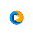 play media icon abstract digital logo vector image