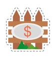 real estate fence wooden price dollar cut line vector image