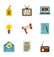 Advertising goods icons set flat style vector image vector image