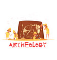 archaeological digs dinosaur skeleton vector image