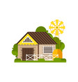 barn and windmill countryside construction vector image vector image