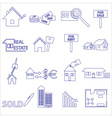 blue real estate outline icons and symbols set vector image vector image