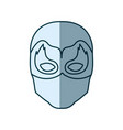 blue silhouette with face of man superhero masked vector image vector image