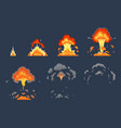 cartoon bomb explosion animation exploding vector image