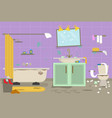 cartoon dirty organized bathroom for cleaning room vector image vector image