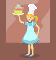 chef girl with birthday cake vector image vector image
