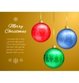 Christmas card with multi-colored pendants in the vector image vector image