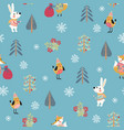christmas seamless patern with cute animals vector image vector image